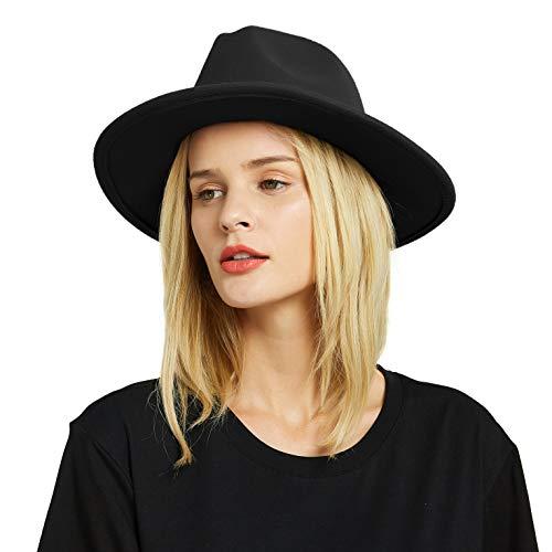 EINSKEY Fedora Hut Herren Damen Baumwolle Breiter Krempe Filzhut Panama Hut mit Gürtelschnalle Mit Fedora