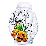 ESAILQ Herren Scary Halloween Lover 3D-Druck Party Langarm Mantel Top Bluse