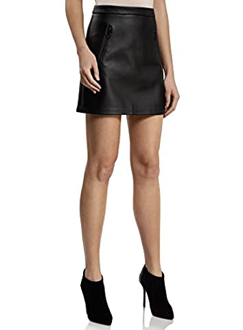 oodji Ultra Women's Faux Leather Skirt with Decorative Zippers, Black, UK 8 / EU 38 / S