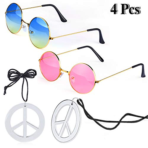 üm Zubehör Set 2 Stück Hippie Sonnenbrille Brille und 2 Stück Peace Sign Halskette (A) ()