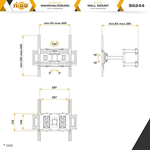 41hVxFCUctL - RICOO Soporte de Pared para TV S5244 Mueble para televisores Brazo Colgante Soportes Inclinable y Giratorio 3D OLED LED LCD Plasma 4K Curvo VESA 400x400 Universal para televisor Negro