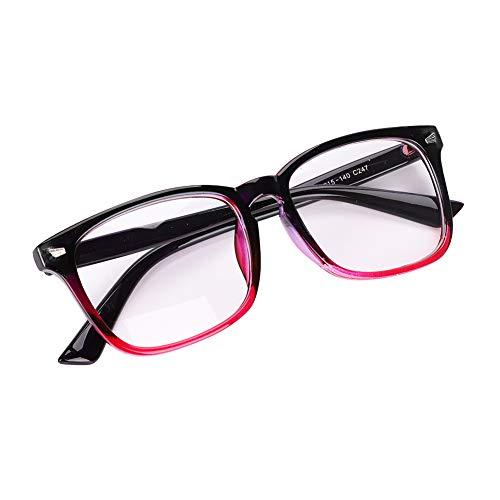 LONTG Unisex Montura gafas de vista Fashion hombre y mujer Vintage Marco Claire Transparente de vista Comfortable ramas Version Corea Frame lente para adultos vidrio, rojo negro, 14.1*4.1*13.9CM