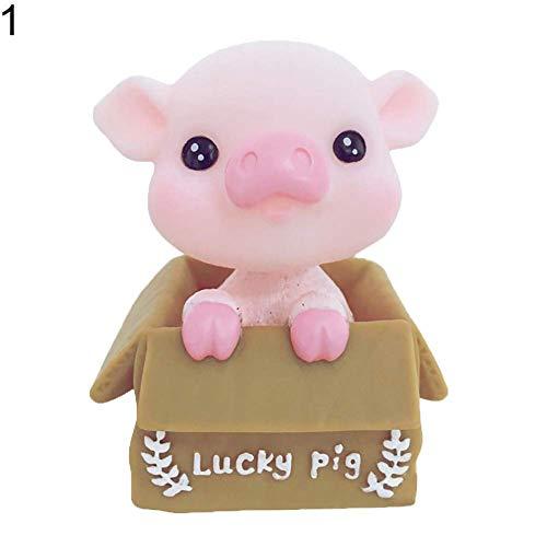 Ogquaton Niedlichen Cartoon Schwein Figur wackelbare miniaturen Modell für Auto Dekoration neuheit Schreibtisch Auto Spielzeug Ornament - 1 langlebig und praktisch