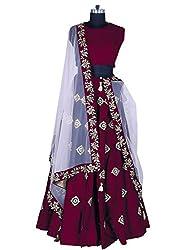 Fabcartz Blue color Embroidered Silk Lehenga choli with Lace border Dupatta (Maroon)