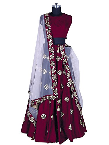 Fabcartz Blue color Embroidered Silk Lehenga choli with Lace border Dupatta (Maroon)