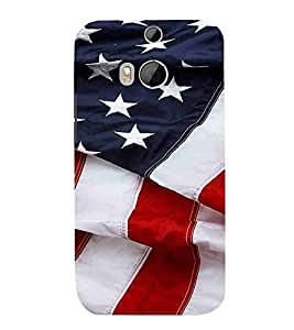 HTC One M8 :: HTC M8 :: HTC One M8 Eye :: HTC One M8 Dual Sim :: HTC One M8s white star, blue, red line, white line, flag Designer Printed High Quality Smooth hard plastic Protective Mobile Case Back Pouch Cover by Paresha