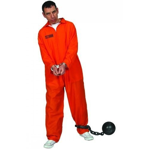 ((L) Mens Orange Convict Costume for Cops Police Robbers Law Fancy Dress Mans Male L)