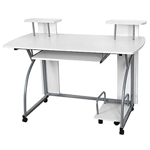 Songmics 120 x 59 x 90 cm Computerschreibtisch mit Tastaturauszug 2 Regale 8 Kunststoffrollen weiß PC Tisch für das Home Office