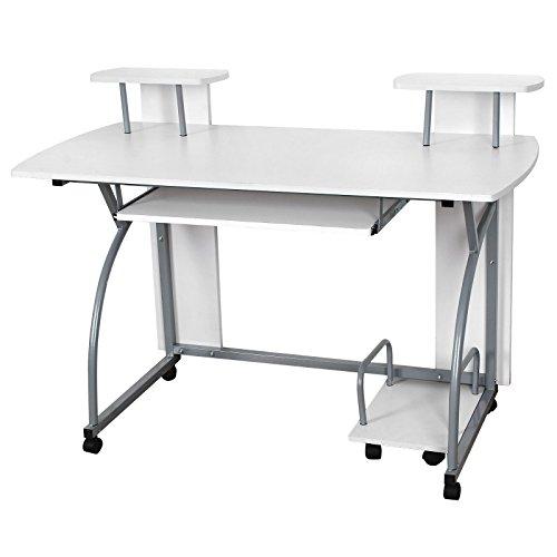 Songmics 120 x 59 x 90 cm Computerschreibtisch mit Tastaturauszug 2 Regale 8 Kunststoffrollen weiß PC Tisch für das Home Office LCD812W