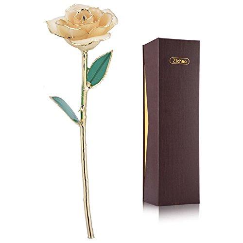 ZJchao Rose, für immer konserviert, Geschenk zum Valentinstag, Jahrestag oder Muttertag weiß Vergoldete Rose