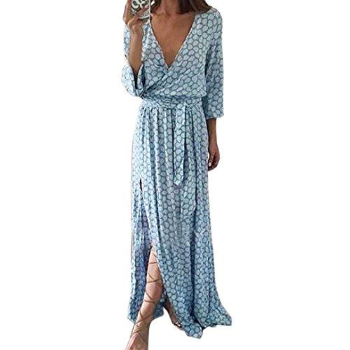 SHOBDW Frauen Langarm V-Ausschnitt gedruckt Langes Maxi Kleid mit Gürtel (S, Blau) (Gedruckt Bustier Kleid)