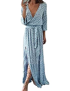 SHOBDW Frauen Langarm V-Ausschnitt gedruckt Langes Maxi Kleid mit Gürtel