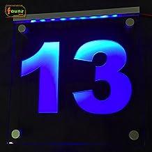 """'LED exterior Número de Casa Vía–cartel luminoso (Orientación """"13de direcciones Azul Opaco sobre Transparente o personalizada/Esfera de selección de color combinado con fuente de alimentación 230V© faunz"""