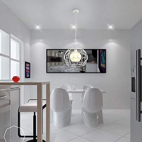MEIEI Zeitgen?ssische Einfach Glas Pendelleuchte Landhaus Ringe Design Pendellampe H?ngeleuchte Kreative Loft H?ngelampe Eisen Cube Fisch Kronleuchter Retro Edison Lampe E27 (Color : Weiß)