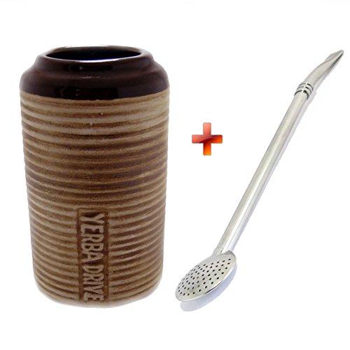 Tazza per mate in ceramica per portabicchieri auto + bombilla in acciaio inox rotondo