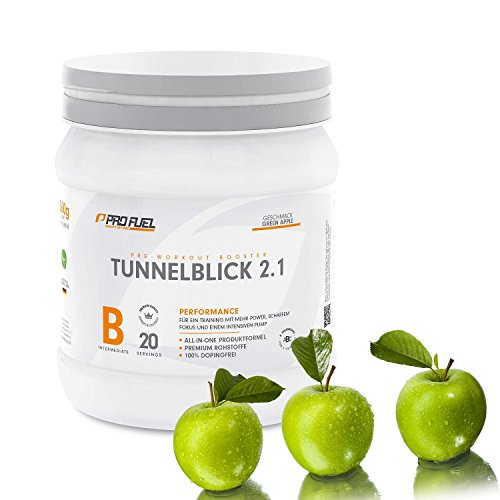 #Pre-Workout Booster Fitness für maximalen Pump und Fokus | Trainings-Booster Shake mit Koffein, Beta-Alanin, Guarana, CarnoSyn,Tyrosin | PROFUEL TUNNELBLICK 2.1 Supplement Vegan / 360g Pulver / GREEN APPLE#