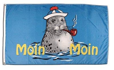 Flagge Moin Moin Seehund mit Pfeife 2 - 90 x 150 cm