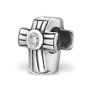 Silvadore - Silver Bead - Cross Coffin Stripes Crystal Cz Design Jesus Christian - 925 Sterling Charm 3D Slide On 395 - Fits Pandora European Bracelet - Free Gift Boxed