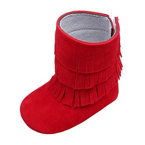 Baby Girl 's Quasten Hohe Wildleder Stiefeletten Crib Shoes Rot