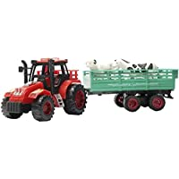 Funny Teddy Farm Tractor Trailer Kid's Toy Truck Playset with 3 Animal Figure | Car Birthday Gift | (Red)