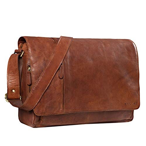 STILORD 'Elias' Ledertasche Herren Umhängetasche Unitasche Laptoptasche 15.6 Zoll Aktentasche Bürotasche Büffel Leder, Farbe:maraska - braun