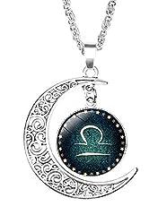 Idea Regalo - Lovelegis Collana Zodiaco Bilancia - Donna e Uomo - - Segno Zodiacale - Luna - Costellazione - Oroscopo - Astrologia - Colore Argento