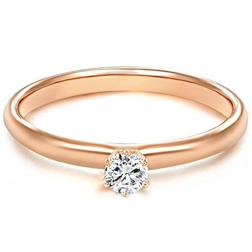 Tresor 1934 Annelli da Donna / Anello di fidanzamento / Solitario in Argento Sterling 925 dorato oro rosa Zircone bianco Taglia 22 60451009