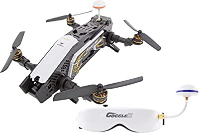 XciteRC 15003850 Racing Furious 320 RTF Quadcopter with Full HD FPV Camera Video Goggles V2, GPS, OSD, Battery, Charger and Devo 10 Transmitter, White