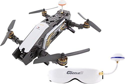 Drone racer xciterc 15003850–FPV Racing quadrirotor Furious 320RTF avec caméra Full HD, Lunettes vidéo Masque V2, GPS, OSD Devo, batterie, chargeur et 10Télécommande Blanc