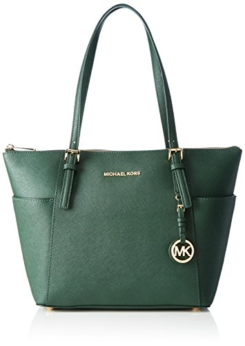 Michael Kors Jet Set Top-zip Saffiano Leather, Sac cabas Verde (Moss)