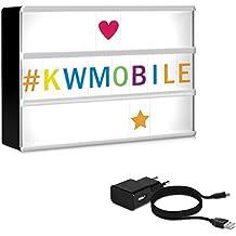 kwmobile caja de luz cinematográfica LED A6 - con 126 letras coloridas símbolos números- con fuente de alimentación - lámpara lightbox