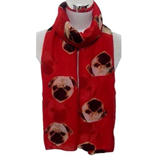 Transer ® Femelle Écharpes,Mode Femmes Longue Imprimer mignon de chien de roquet Écharpe Voile Wraps Châle souple Echarpes Coloré Rouge