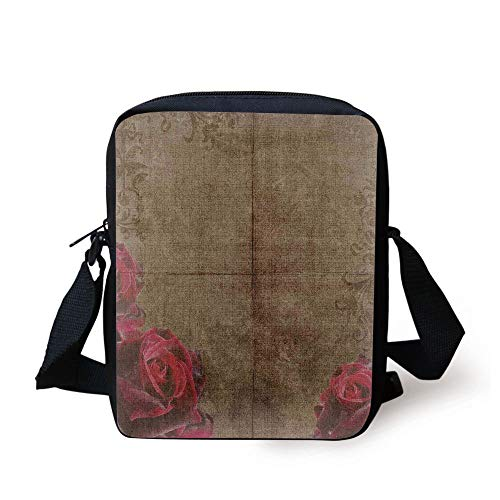CBBBB Victorian Decor,Decorative Artwork with Roses Ornamental Frame Image Nostalgic Vintage Style,Red Brown Print Kids Crossbody Messenger Bag Purse - Victorian Rose Bath