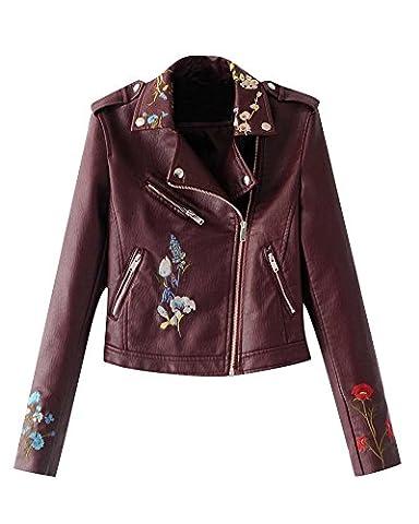 Femme Retro Pu Cuir Veste Avec Broderie Biker Moto Zipper Faux Cuir Manteau Blouson Vin Rouge XL