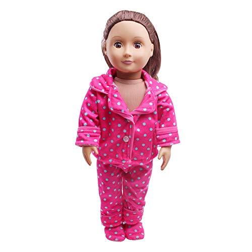 Traje de Pijama Moda Invierno Top Camisero Estampado+Pantalones para 18 Pulgadas Muñeca Americana Chica Gusspower