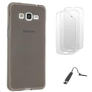 D&C® Coque Silicone Gel S-Line Noir Samsung Galaxy Core Prime G360 + 3 FILMS ET STYLET OFFERTS