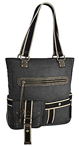Sipecusa - Damen Schultertasche Handtasche aus Canvas mit zwei Griffen Grau