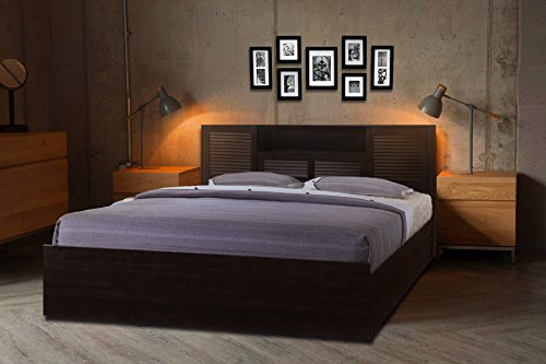 HomeTown Bolton Engineered Wood Hydraulic Storage King Size Bed in Wenge Color