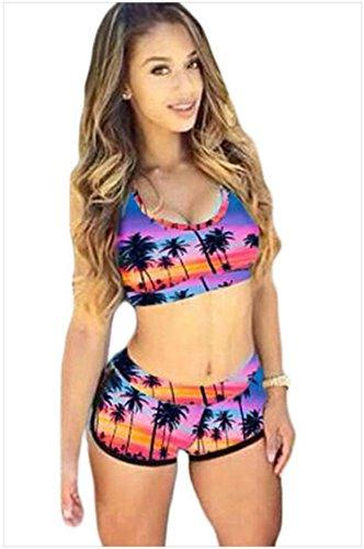 Split Badeanzug _ rund Hals Prints erhöhen die Größe der Strand Freizeit Split Badeanzug pink / violett