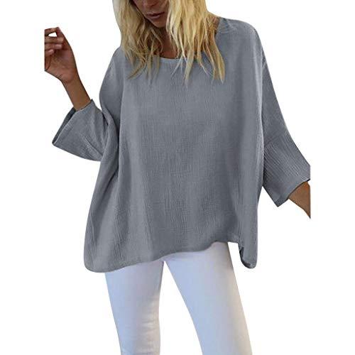 Yvelands Damen T-Shirt Sommer Loose Fashion Freizeit Pure Kragen Short(Grau,XL)