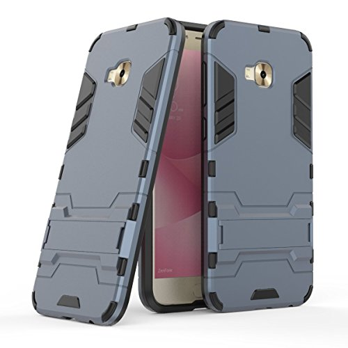 Hülle für Asus ZenFone 4 Selfie Pro ZD552KL (5,5 Zoll) 2 in 1 Hybrid Dual Layer Shell Armor Schutzhülle mit Standfunktion Case (Blau Schwarz)