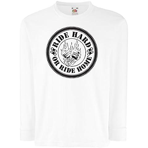 N4688D La camiseta de los niños con mangas largas Ride Hard! Biker clothing