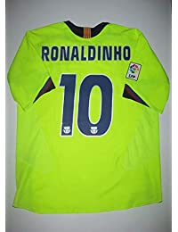 BROOK Ronaldinho 10 Barcelona Away Retro Soccer Jersey 2006 Full UCL. Patch  (Green eb289cfc807