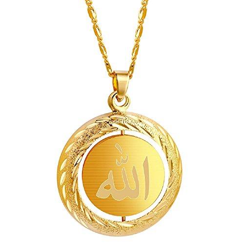 alskette Allah Runde Münze Muslim Islamisch (Gold Münze Halskette)