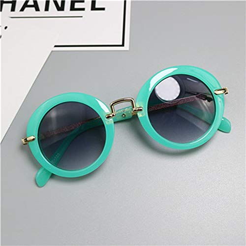 HUWAIYUNDONG Sonnenbrillen,New Muster Mädchen Sonnenbrillen Markendesigner Uv400 Schutz Jungen Metall Umrandeten Sonnenbrillen Cool Goggles Grün