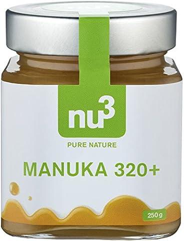 nu3 natürlicher Manuka Honig MGO 320+ aus Neuseeland, 250g - Mit einem Methylglyoxal-Gehalt (MGO) von mindestens 320 mg/kg