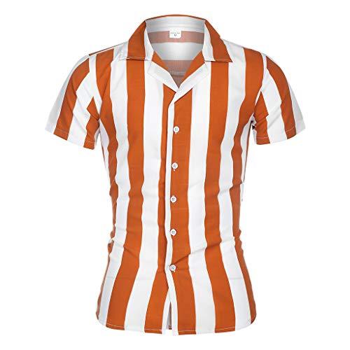 Setsail Herren Mode Printed Spleißen Bunte Streifen Kurzarm lose Shirt - Printed Stripe Crew Neck Tee