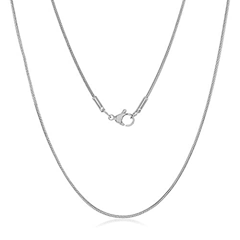 Small 1mm Durable Solid Stainless Steel Rounded Snake Chain Necklace , 75 cm