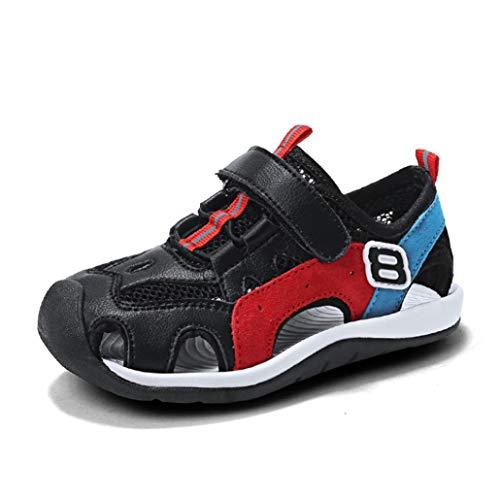 Jungen Mode Sport Sandalen Sommer bequem Leder geschlossen zehen mesh weichen Boden Sandalen lässig schnell trocknende Strandschuhe (Rogers Kinder Jack)