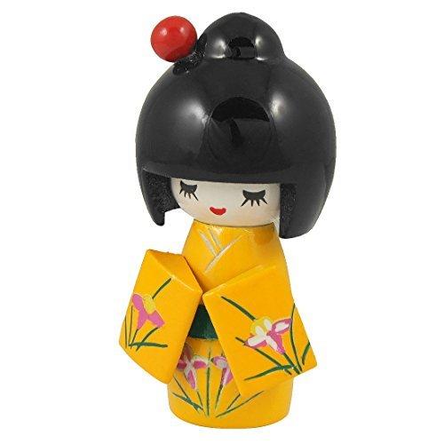 Patrón de flor de madera DealMux Inicio del escritorio de oficina decorativo kimono de la muñeca de Kokeshi amarillo